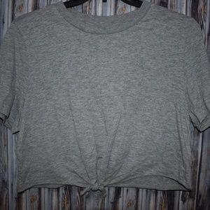 TOPSHOP US 12 Gray Crop Top Tie Front Womens